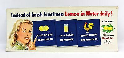 Vintage Sunkist Lemons in Water Lithograph Bus Advertisement Sign Poster