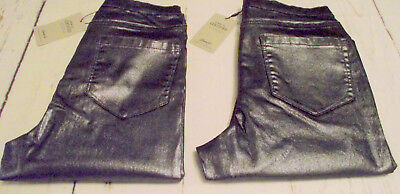 DENIM CO Super High Waisted Leather Jeggings Skinny Coated Jeans  Pewter 8 10 12