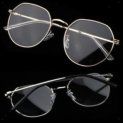 Women Men Metal Frame Clear Lens Irregular Round Eye Glasses Nerd Vintage