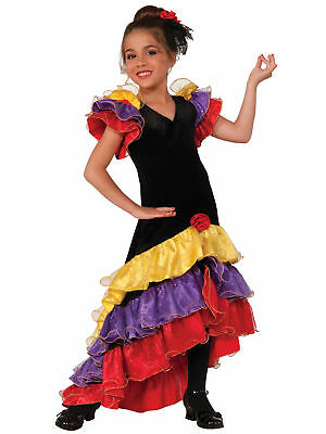 Flamenco Deluxe Dancer Latin Spanish Spain Senorita Book Week Girls Costume L