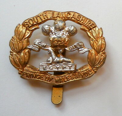 WW II British South Lancashire Regiment Cap Badge Original Issue VG Condition