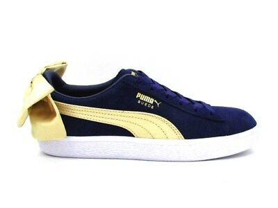 online store 684bc 6f8ed Puma Sneakers Suede Bow Varsity Wn s Blu Oro Bianco 367732-02