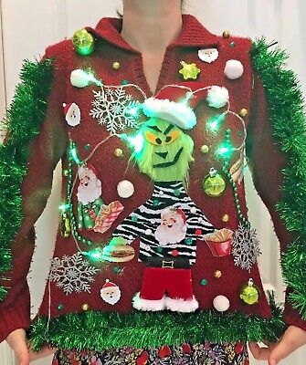 ugly grinch christmas sweater tacky contest womens medium lights up