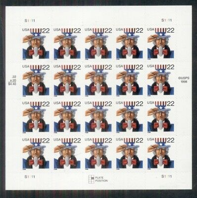 US #3259a, 22¢ Uncle Sam, Pane of 20, Die cut variety 10.8x10.5, NH, Scott $50