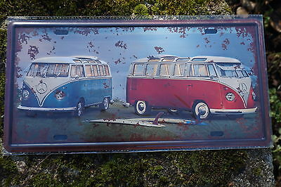 Jf002B Plaque Metal Combi Volkswagen Reproduction 30X16 Cm