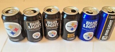2016 2017 2018 NFL Pittsburgh Steelers Empty Beer Bud Light Kickoff Cans 6 Pack