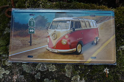 Jf002C   Plaque Metal Combi Volkswagen Reproduction 30X16 Cm