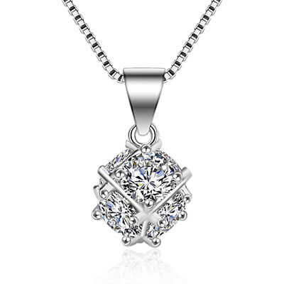 925 Sterling Silver Crystal Rubik's Cube Pendant Necklace For Women Jewelry