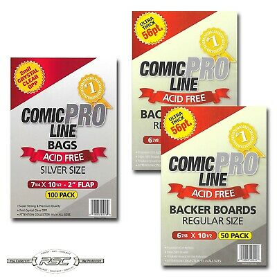 100 - Comic Pro Line REGULAR 56pt Backer Boards & 2-Mil SILVER Acid-Free Bags!