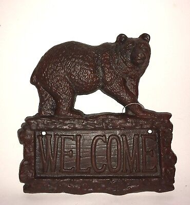 Cast Iron Black Bear Welcome Sign / Rustic Decor / Vintage