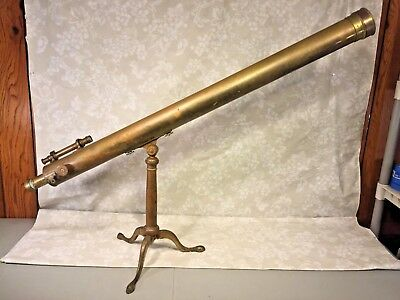 Antique Widdifield & Co Brass Telescope Library Style Brass Case & Tripod Stand