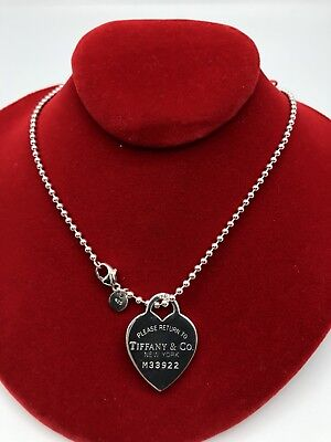 """Tiffany & Co. Sterling Silver Return To Tiffany Heart Bead Necklace (NK019) 32'"""""""