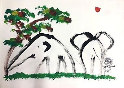 Rare! Elephant Drawing Paper Art Decor Authentic Gift Original Painting with VDO