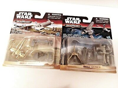 Lot (2) Star Wars Micro Machines Gold Series Battle for Naboo & Resistance Base
