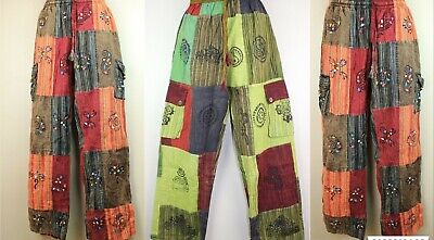Patchwork Casual Trousers Hippie Pants Festival 60s 70s Flared Combat Fancy HT4
