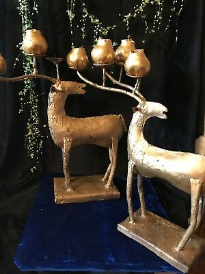 """Antique/ Shabby Chic Hand-Forged Raindeer/Antler Candle Holders Rare 13"""" Tall"""