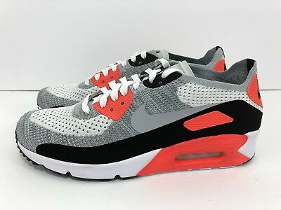 competitive price f1855 7175d NIKE AIR MAX 90 Ultra 2.0 Flyknit OG White Wolf Grey Crimson 875943-100  Size 10