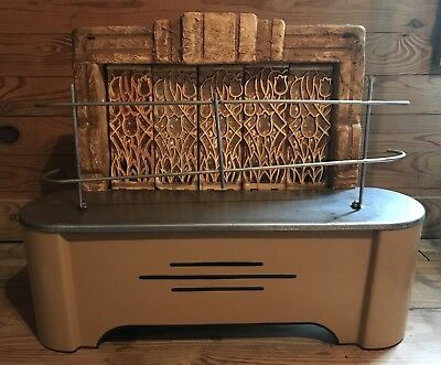 Antique/Vintage Gas Room Heater With Original Ceramic Gates 1940s