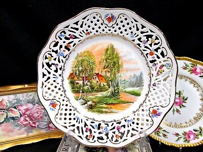 Bavaria Germany Schumann Plate English Country Scene Open Edges Plate German