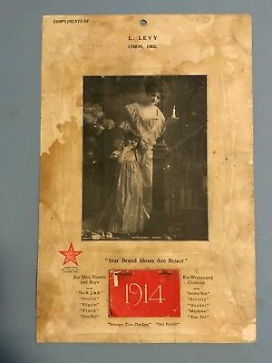 """1914 STAR BRAND SHOES  12 MONTH CALENDAR """" star brand shoes are better"""". L.LEVY"""