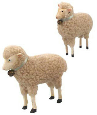 Bethany Lowe Easter Christmas Set of 2 Resin Wool Lambs Sheep with Bells