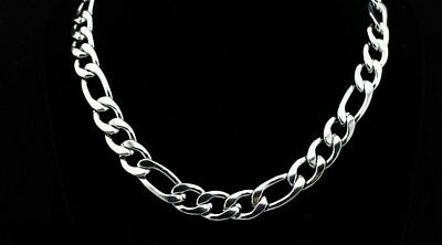 """Men's 316L Stainless Steel Figaro Link Chain Necklace - 11 mm - 20"""" thru 26"""""""
