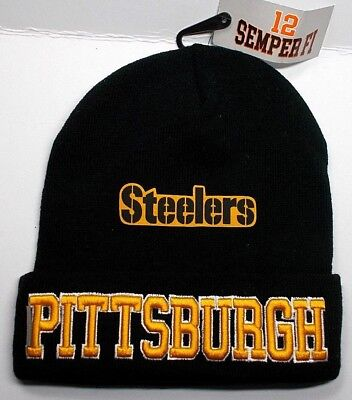 READ LISTING! Pittsburgh Steelers Flat Logo on Embroidered Beanie Knit Cap hat!
