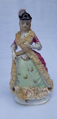Vintage Porcelain Lady With Stiffened Lace, Hand Painted