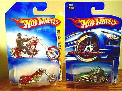 Hot Wheels Occ Splitback Chopper & Scorchin Scooter Motorcycle Lot Of 2 Rare Mip