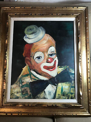 "Large Hosendyk ""Portrait Of A Clown"" Oil Painting #2 - Signed And Framed"