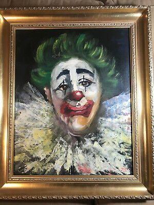 "Large Hosendyk ""Portrait Of A Clown"" Oil Painting #3 - Signed And Framed"