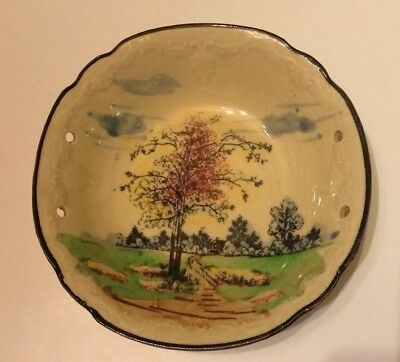 Old Antique Japanese Porcelain Rice Bowl Chopstick With Tree Japan 7 1/2 Round