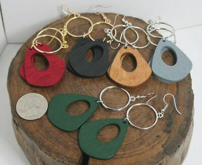 Wood charm long earrings, red,black,tan,green,gray color, gold or silver color