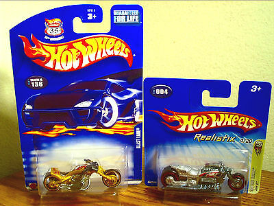 Hot Wheels Blast Lane Gold 35Th Anniv & Airy 8 Motorcycle Lot Of 2 Rare Mip