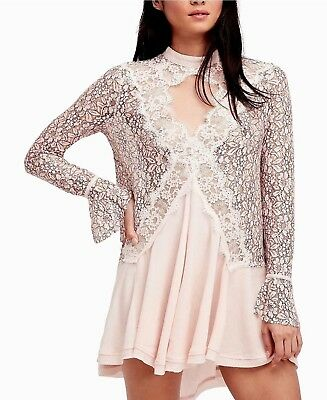 3a53f2b835a NWT FREE PEOPLE Tell Tale Lace Tunic Dress Long Sleeve Pearl XS S M ...