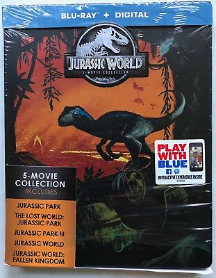 Jurassic World 5 Movie Collection Blu Ray 5 Disc Set Limited Edition Steelbook