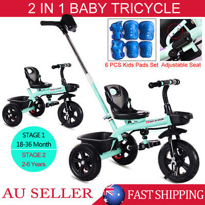 2 in1 Baby Bike Bicycle Toddler Walker Kids Children 3 Wheels Trike Tricycle AU