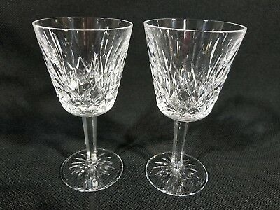 """Waterford Lismore Wine Water Goblet Glasses 5 7/8""""  Set of 2"""