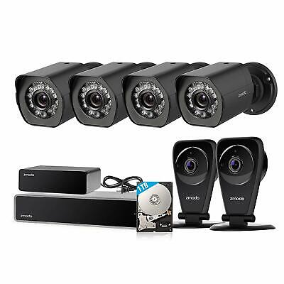 Zmodo 8CH 1080P NVR 4 PoE+2 Wireless Audio Camera Security System 1TB w/Repeater