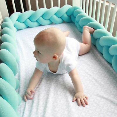 Home Practical Baby Bed Bumper Infant Crib Protector Pacification Weaving Knot