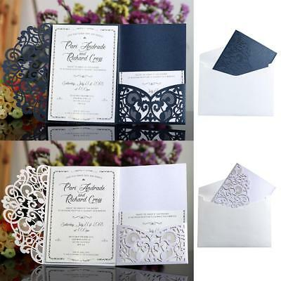 10Pcs Luxury Wedding Party Invitations Cards Laser Cut Pearl Insert Envelope
