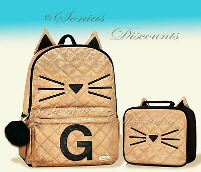 """Justice Initial """"G"""" Gold CAT Quilted Backpack+Lunch Tote Set-NWT-Simply Elegant!"""