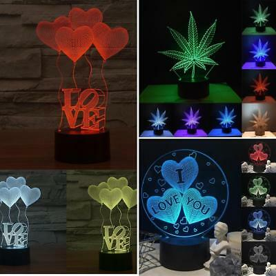 Lk _ Lot 3D Led Illusion Cœur USB 7color Table Lampe Veilleuse