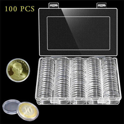 Coin Clear Plastic Round Storage Box 30mm Cases Capsules Holder Applied 100 Pcs