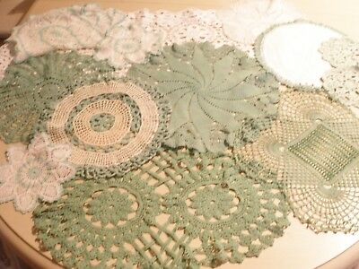 BULK 30's GREEN (also WHITE)  HAND CROCHET DOILIES - EXCELLENT CONDITION
