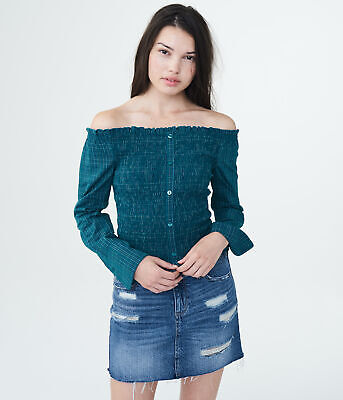 aeropostale womens long sleeve plaid smocked off-the-shoulder top