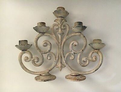 Vintage Authentic FRENCH Cast Iron 5 Candle Holder Sticks Candelabra Shabby ChiC
