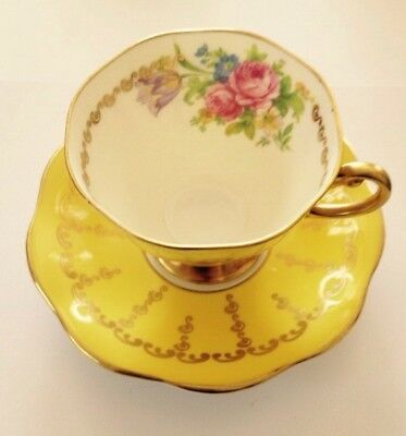 Royal Bone China Made in England Tea Cup & Saucer Flowers Yellow  Gold Gilded