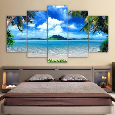 HD Print Canvas Wall Art Pictures Beach Blue Palm Trees 5 Pieces Painting Fra...
