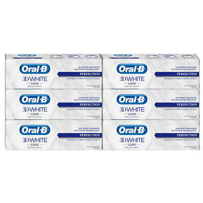 Oral-B 3D White Luxe Perfection Mint Toothpaste Whitening Enamel Protect 6x75ml